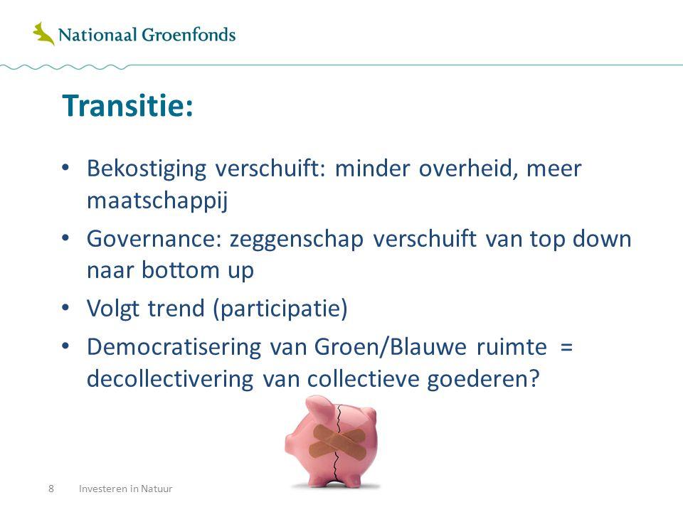 Transitie: 8Investeren in Natuur Bekostiging verschuift: minder overheid, meer maatschappij Governance: zeggenschap verschuift van top down naar botto