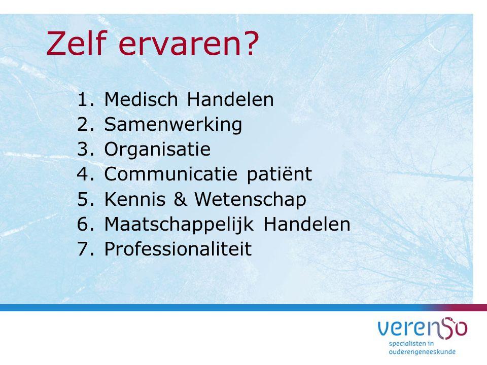1.Medisch Handelen 2.Samenwerking 3.Organisatie 4.Communicatie patiënt 5.Kennis & Wetenschap 6.Maatschappelijk Handelen 7.Professionaliteit Zelf ervar