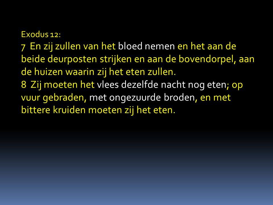 Exodus 12: 7 En zij zullen van het bloed nemen en het aan de beide deurposten strijken en aan de bovendorpel, aan de huizen waarin zij het eten zullen.