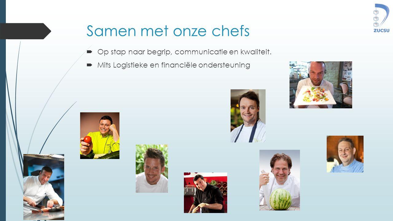 Samen met onze chefs  Op stap naar begrip, communicatie en kwaliteit.  Mits Logistieke en financiële ondersteuning