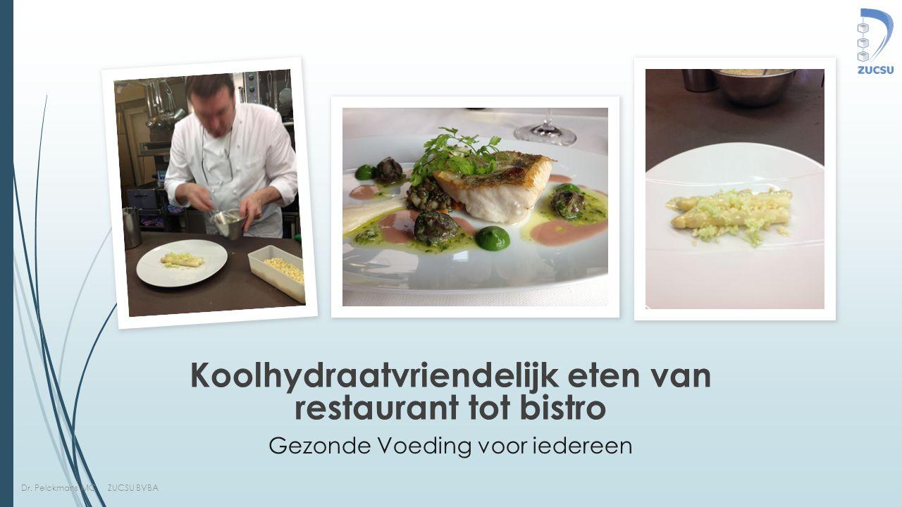 Dr. Pelckmans MC ZUCSU BVBA Gezonde Voeding voor iedereen Koolhydraatvriendelijk eten van restaurant tot bistro