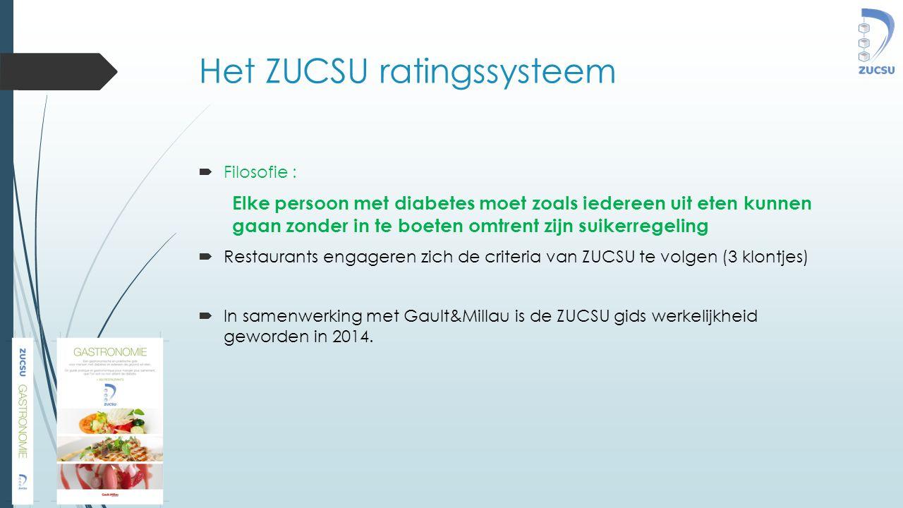 Het ZUCSU ratingssysteem  Filosofie : Elke persoon met diabetes moet zoals iedereen uit eten kunnen gaan zonder in te boeten omtrent zijn suikerregeling  Restaurants engageren zich de criteria van ZUCSU te volgen (3 klontjes)  In samenwerking met Gault&Millau is de ZUCSU gids werkelijkheid geworden in 2014.