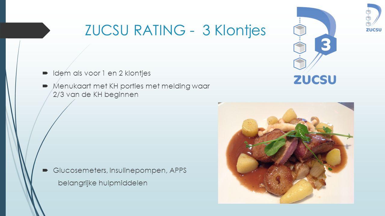 ZUCSU RATING - 3 Klontjes  Idem als voor 1 en 2 klontjes  Menukaart met KH porties met melding waar 2/3 van de KH beginnen  Glucosemeters, Insuline