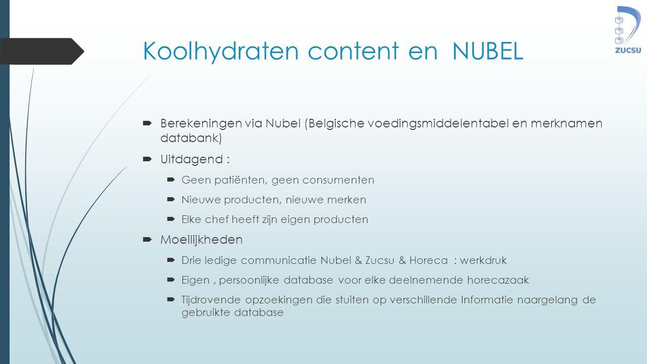 Koolhydraten content en NUBEL  Berekeningen via Nubel (Belgische voedingsmiddelentabel en merknamen databank)  Uitdagend :  Geen patiënten, geen co