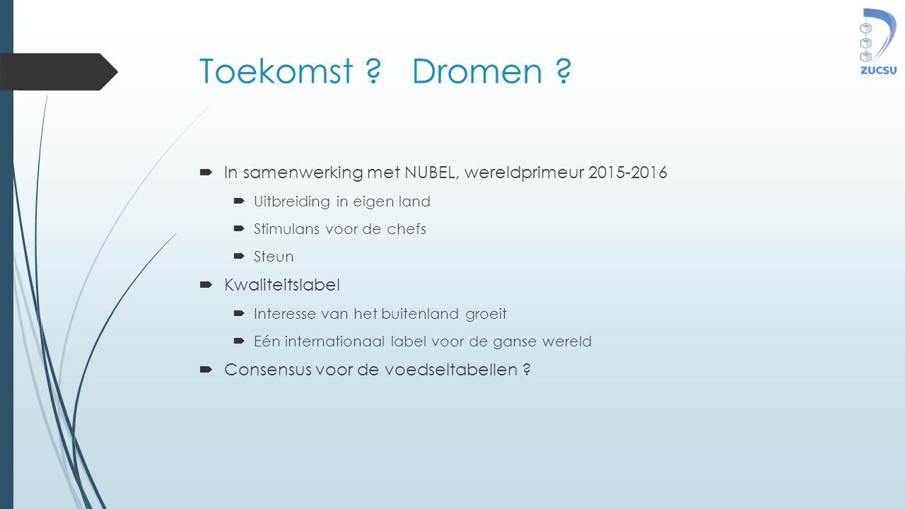 Toekomst ? Dromen ?  In samenwerking met NUBEL, wereldprimeur 2015-2016  Uitbreiding in eigen land  Stimulans voor de chefs  Steun  Kwaliteitslab