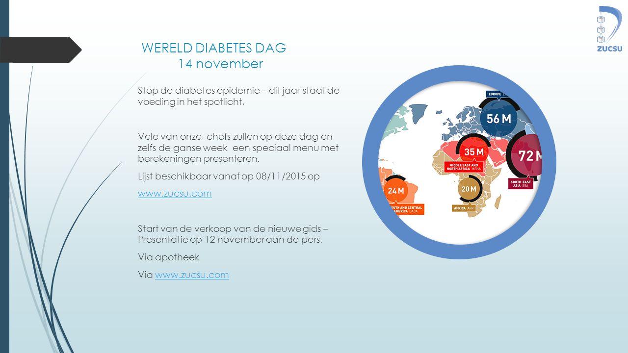 WERELD DIABETES DAG 14 november Stop de diabetes epidemie – dit jaar staat de voeding in het spotlicht, Vele van onze chefs zullen op deze dag en zelf