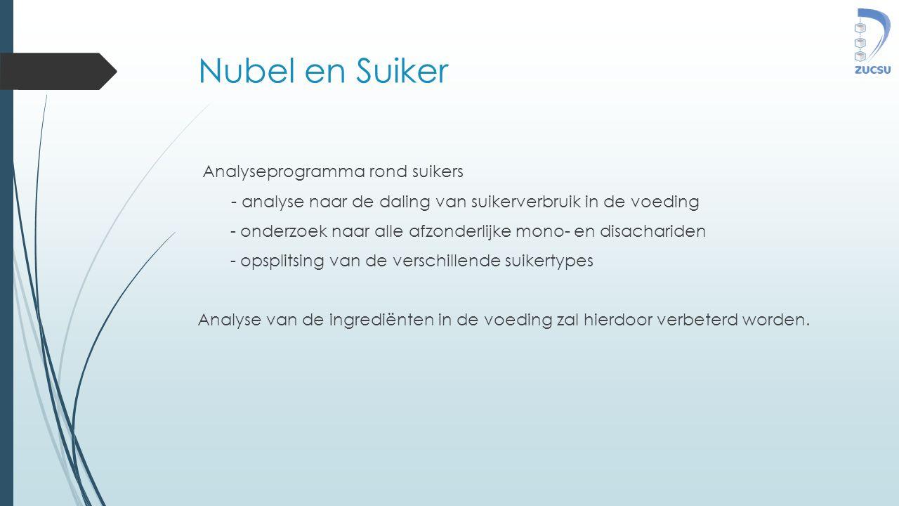 Nubel en Suiker Analyseprogramma rond suikers - analyse naar de daling van suikerverbruik in de voeding - onderzoek naar alle afzonderlijke mono- en disachariden - opsplitsing van de verschillende suikertypes Analyse van de ingrediënten in de voeding zal hierdoor verbeterd worden.