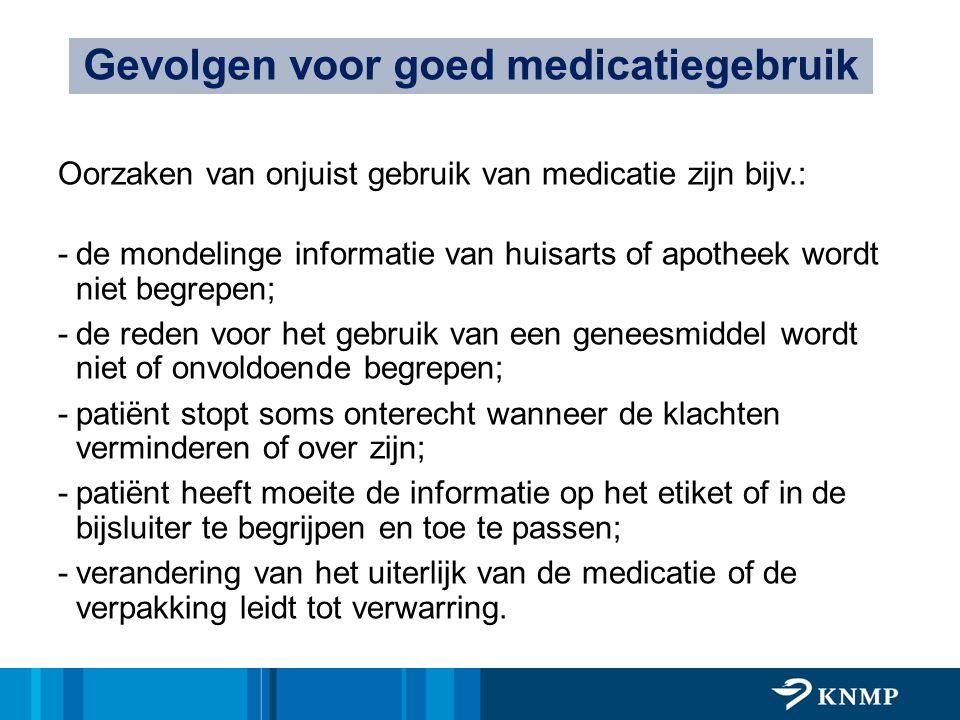 Oorzaken van onjuist gebruik van medicatie zijn bijv.: -de mondelinge informatie van huisarts of apotheek wordt niet begrepen; -de reden voor het gebr