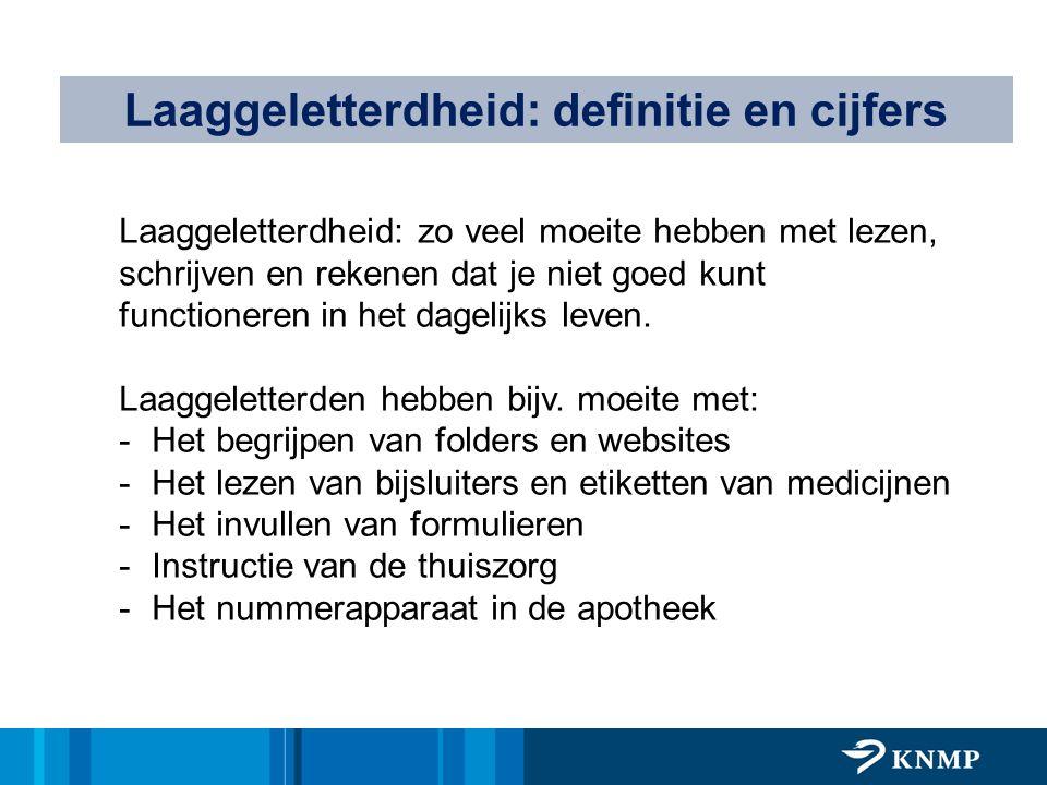 Laaggeletterdheid: definitie en cijfers Laaggeletterdheid: zo veel moeite hebben met lezen, schrijven en rekenen dat je niet goed kunt functioneren in