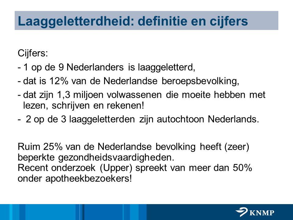 Laaggeletterdheid: definitie en cijfers Cijfers: -1 op de 9 Nederlanders is laaggeletterd, -dat is 12% van de Nederlandse beroepsbevolking, -dat zijn