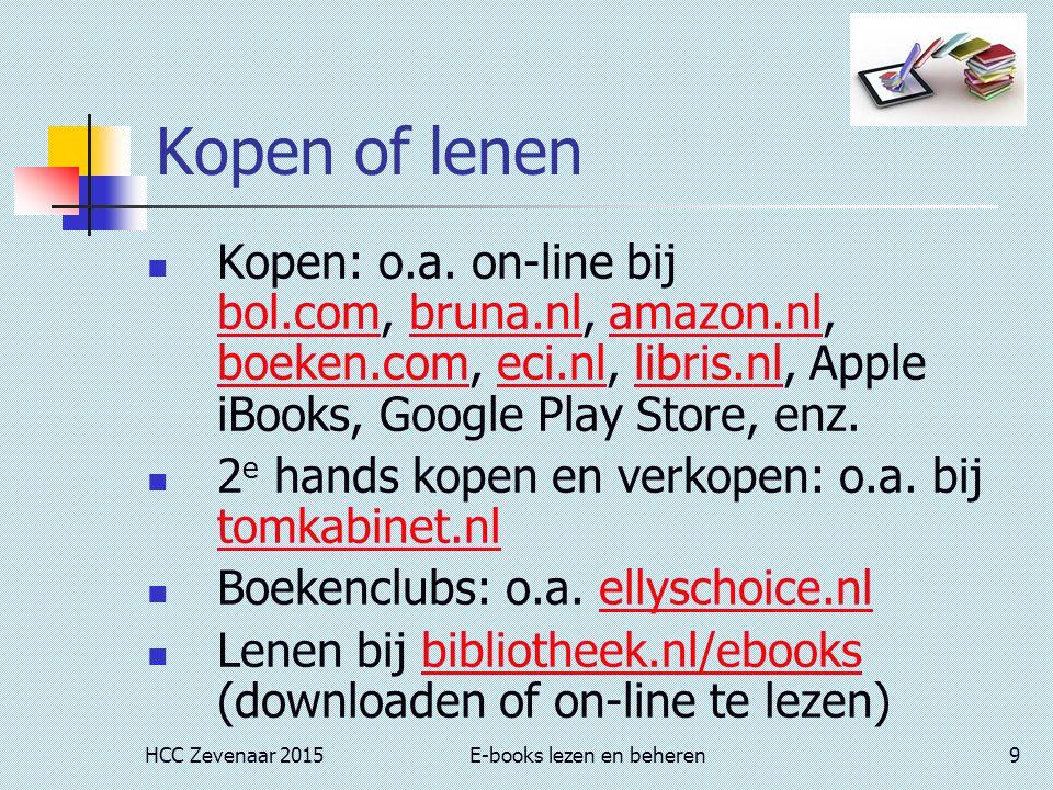 HCC Zevenaar 2015E-books lezen en beheren9 Kopen of lenen Kopen: o.a.