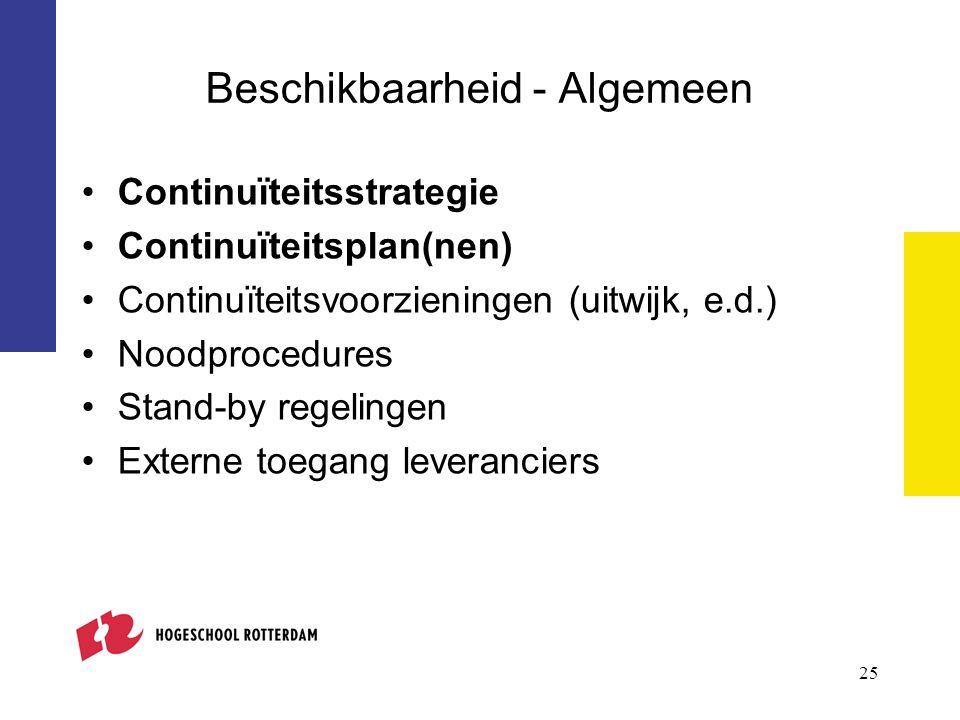 Beschikbaarheid - Algemeen Continuïteitsstrategie Continuïteitsplan(nen) Continuïteitsvoorzieningen (uitwijk, e.d.) Noodprocedures Stand-by regelingen