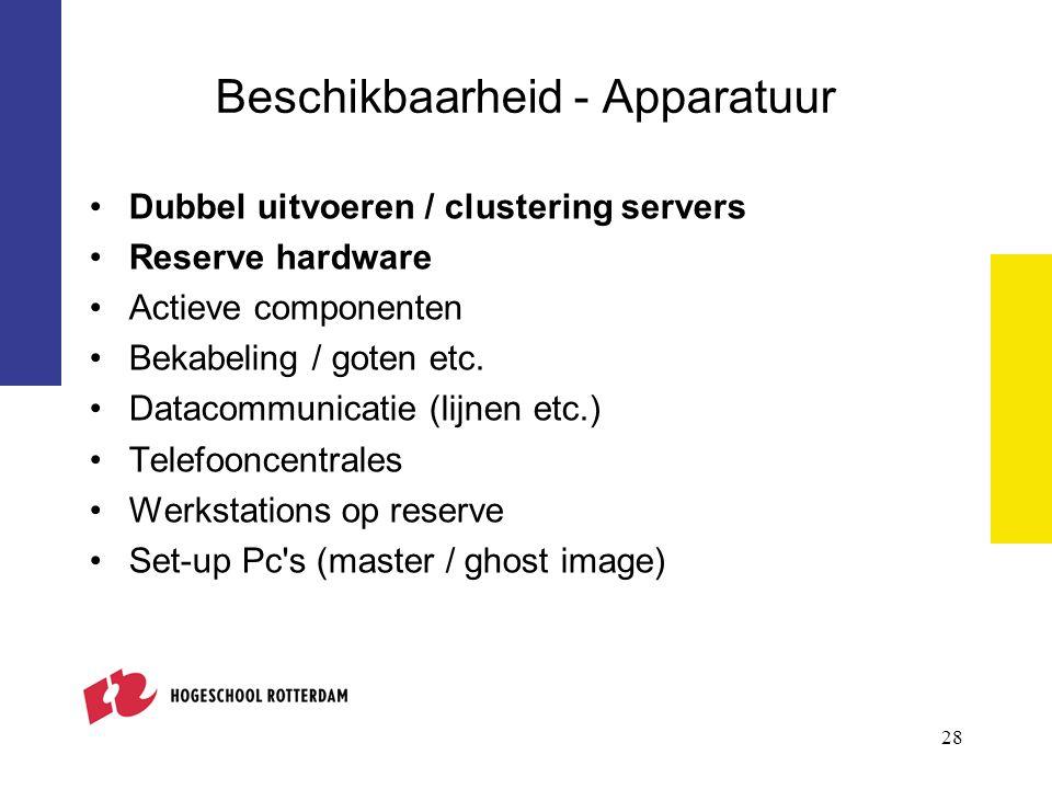 Beschikbaarheid - Apparatuur Dubbel uitvoeren / clustering servers Reserve hardware Actieve componenten Bekabeling / goten etc. Datacommunicatie (lijn