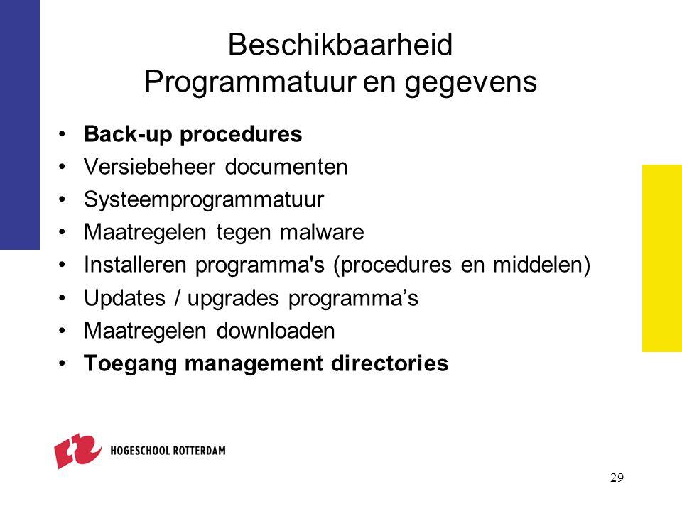 Beschikbaarheid Programmatuur en gegevens Back-up procedures Versiebeheer documenten Systeemprogrammatuur Maatregelen tegen malware Installeren progra