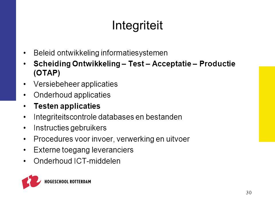 Integriteit Beleid ontwikkeling informatiesystemen Scheiding Ontwikkeling – Test – Acceptatie – Productie (OTAP) Versiebeheer applicaties Onderhoud ap