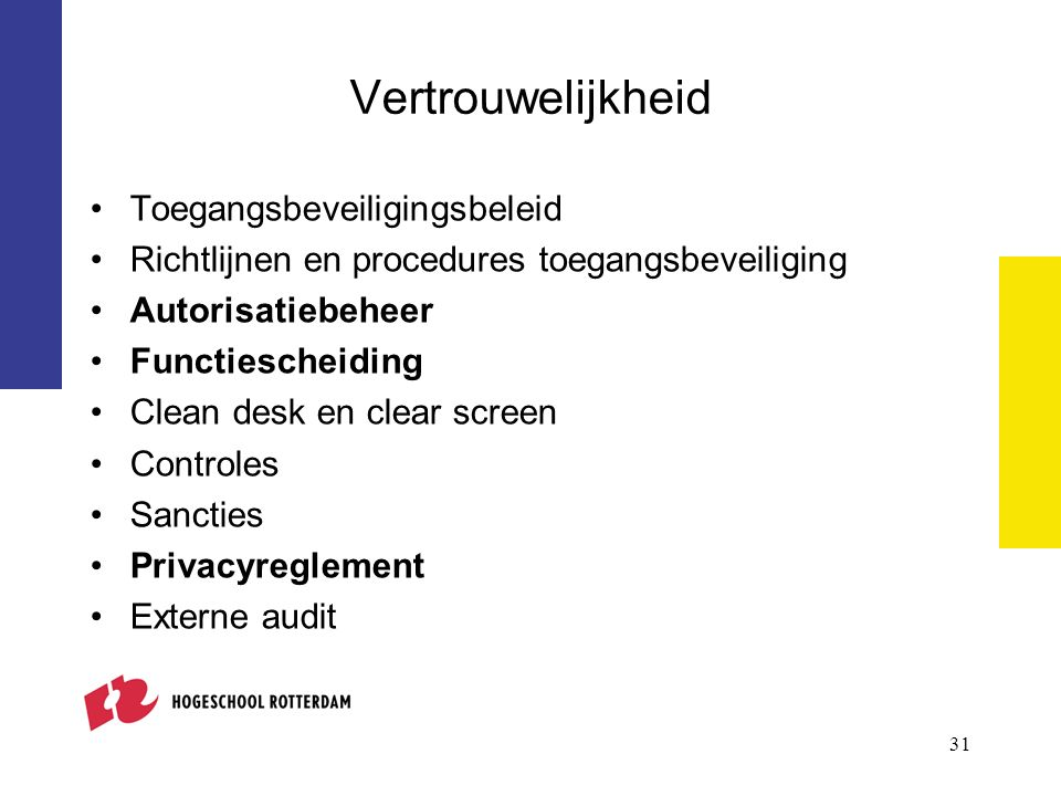 Vertrouwelijkheid Toegangsbeveiligingsbeleid Richtlijnen en procedures toegangsbeveiliging Autorisatiebeheer Functiescheiding Clean desk en clear screen Controles Sancties Privacyreglement Externe audit 31