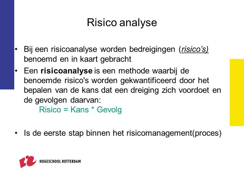 Risico analyse Bij een risicoanalyse worden bedreigingen (risico's) benoemd en in kaart gebracht Een risicoanalyse is een methode waarbij de benoemde