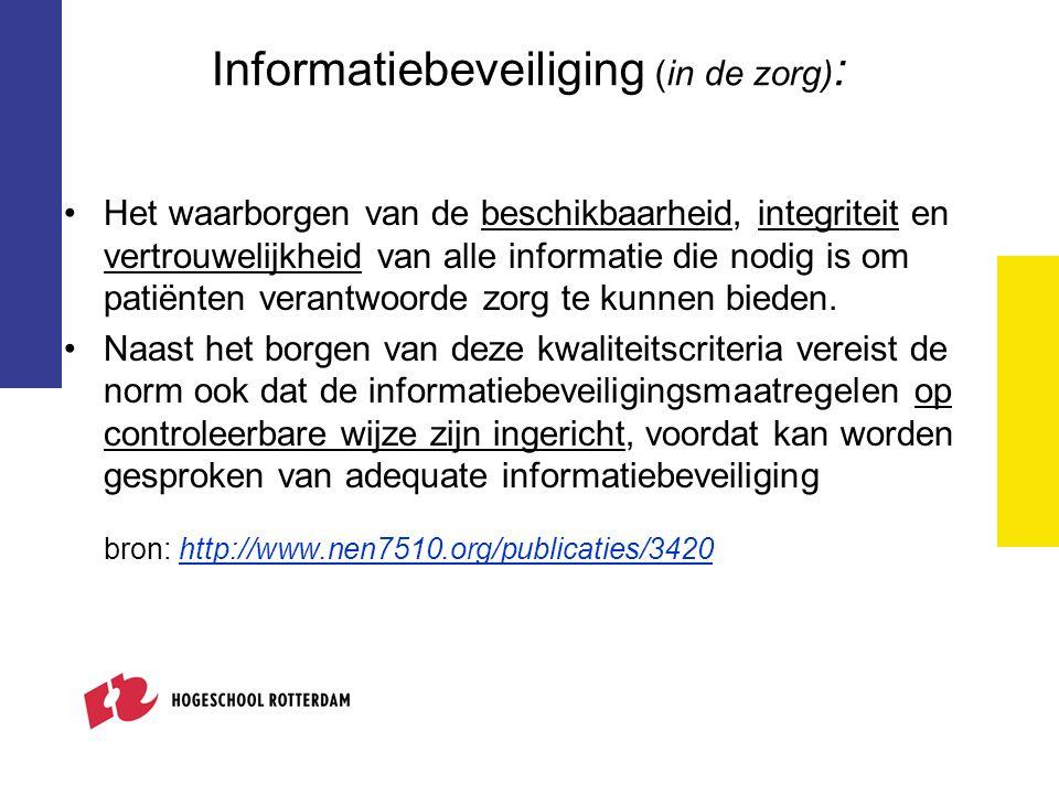 Informatiebeveiliging (in de zorg) : Het waarborgen van de beschikbaarheid, integriteit en vertrouwelijkheid van alle informatie die nodig is om patië