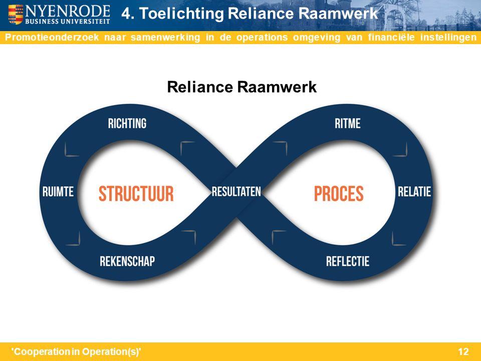 do Promotieonderzoek naar samenwerking in de operations omgeving van financiële instellingen 4. Toelichting Reliance Raamwerk 12'Cooperation in Operat