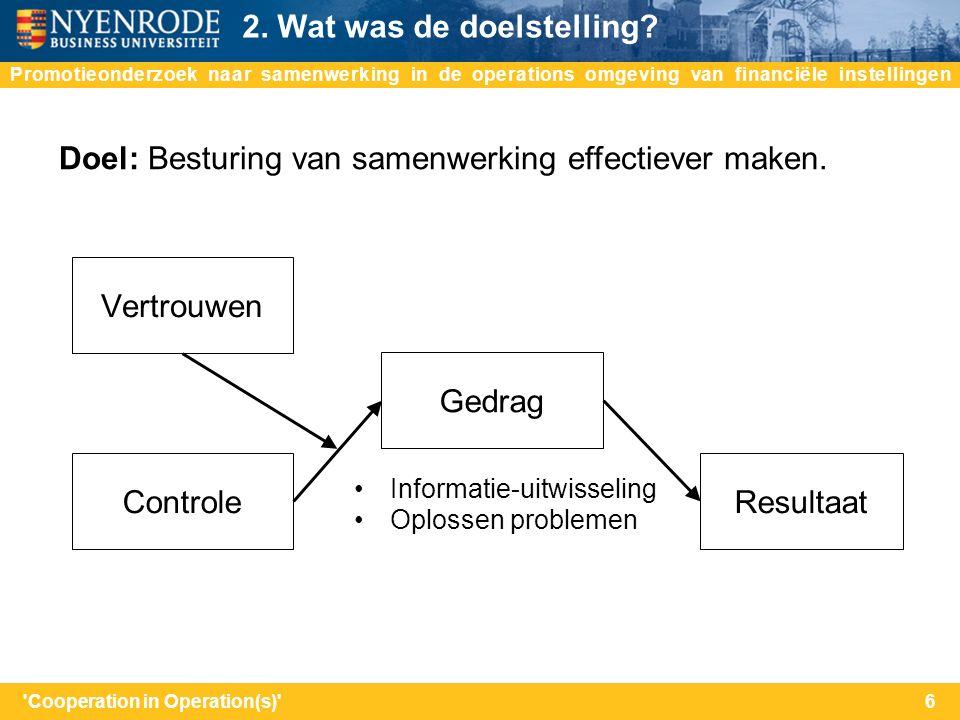 na Doel: Besturing van samenwerking effectiever maken. Promotieonderzoek naar samenwerking in de operations omgeving van financiële instellingen 2. Wa