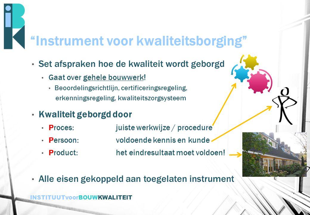"""INSTITUUTvoorBOUWKWALITEIT """"Instrument voor kwaliteitsborging"""" Set afspraken hoe de kwaliteit wordt geborgd Gaat over gehele bouwwerk! Beoordelingsric"""