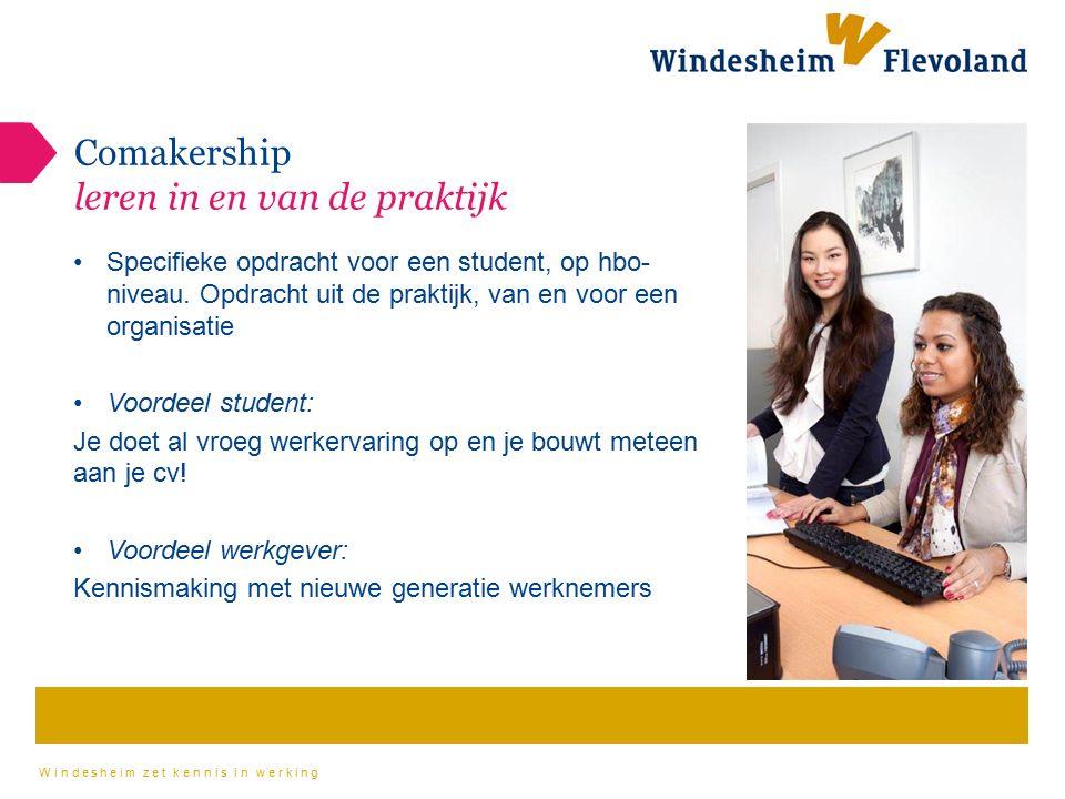 Windesheim zet kennis in werking Comakership leren in en van de praktijk Specifieke opdracht voor een student, op hbo- niveau. Opdracht uit de praktij