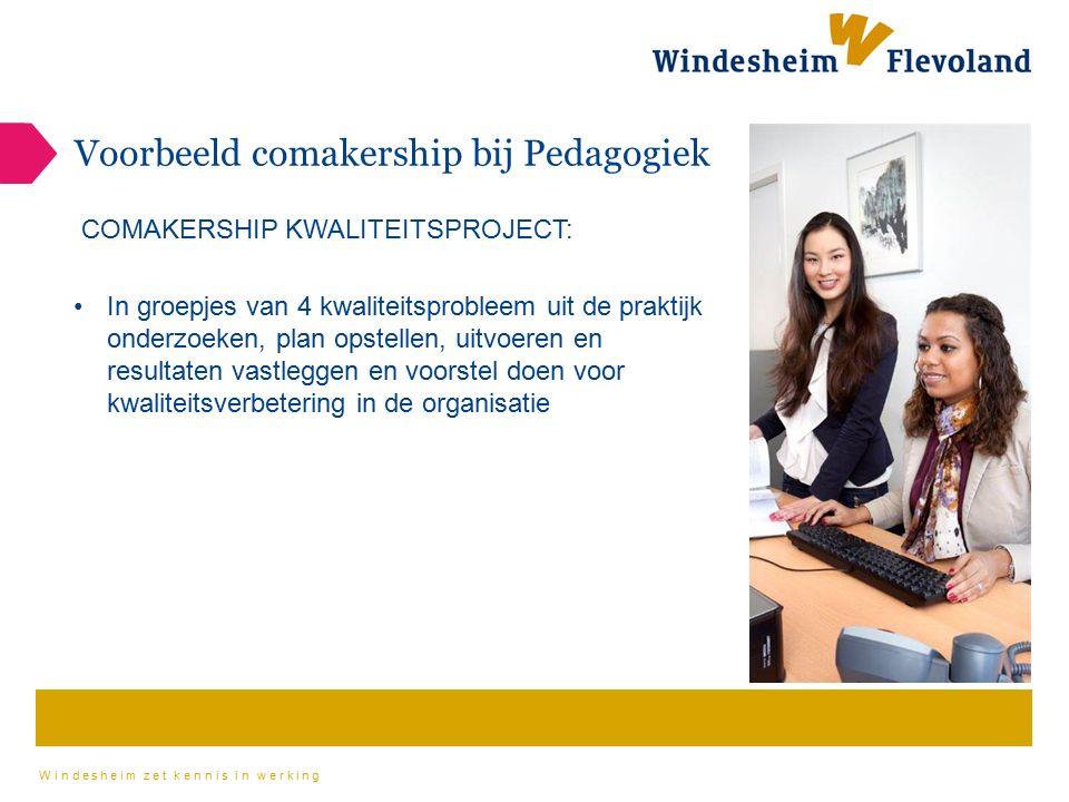 Windesheim zet kennis in werking Voorbeeld comakership bij Pedagogiek COMAKERSHIP KWALITEITSPROJECT: In groepjes van 4 kwaliteitsprobleem uit de prakt