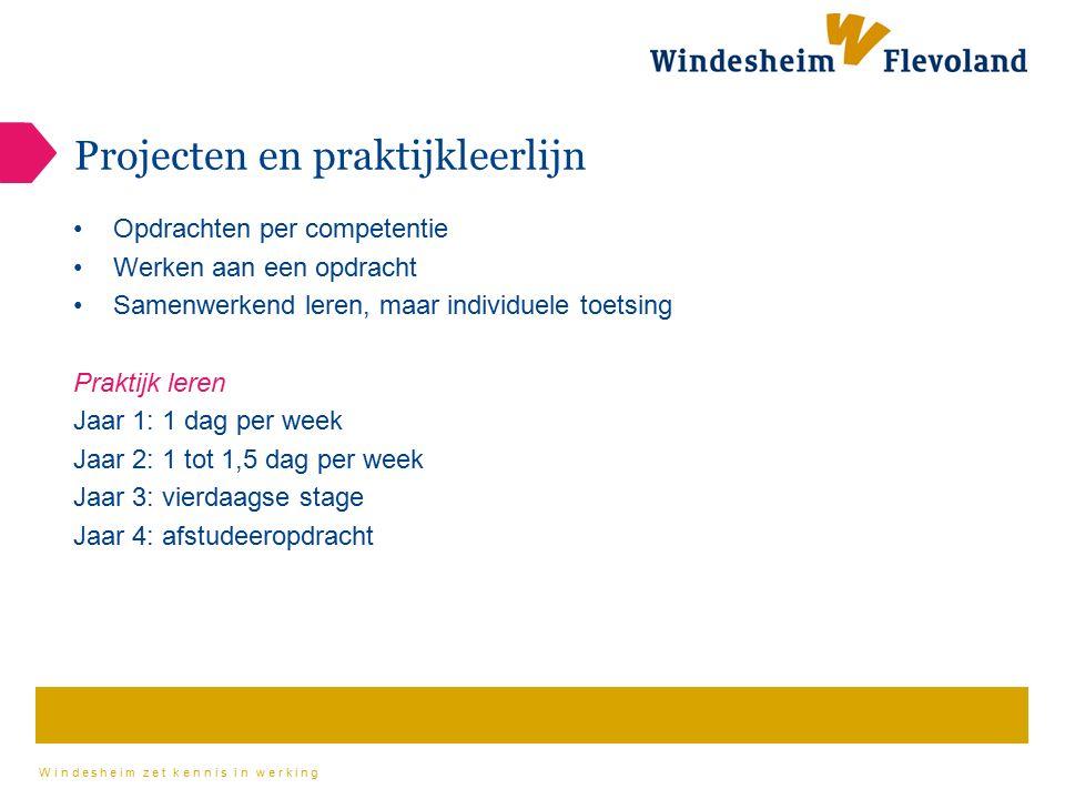 Windesheim zet kennis in werking Projecten en praktijkleerlijn Opdrachten per competentie Werken aan een opdracht Samenwerkend leren, maar individuele