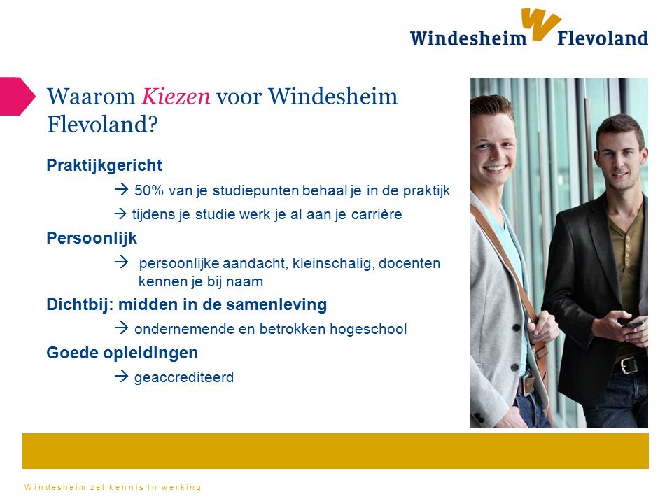 Windesheim zet kennis in werking Waarom Kiezen voor Windesheim Flevoland? Praktijkgericht  50% van je studiepunten behaal je in de praktijk  tijdens