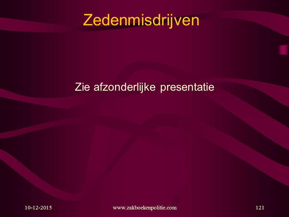 10-12-2015www.zakboekenpolitie.com121 Zedenmisdrijven Zie afzonderlijke presentatie