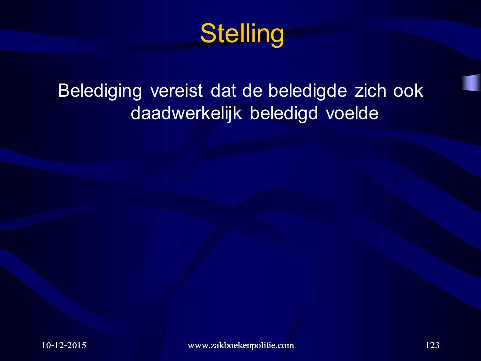 10-12-2015www.zakboekenpolitie.com123 Stelling Belediging vereist dat de beledigde zich ook daadwerkelijk beledigd voelde