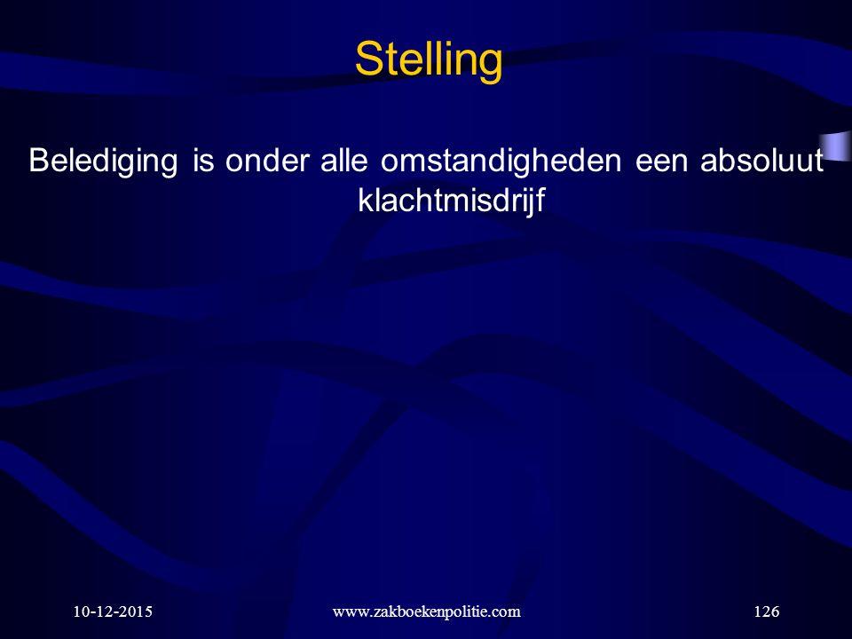 10-12-2015www.zakboekenpolitie.com126 Stelling Belediging is onder alle omstandigheden een absoluut klachtmisdrijf