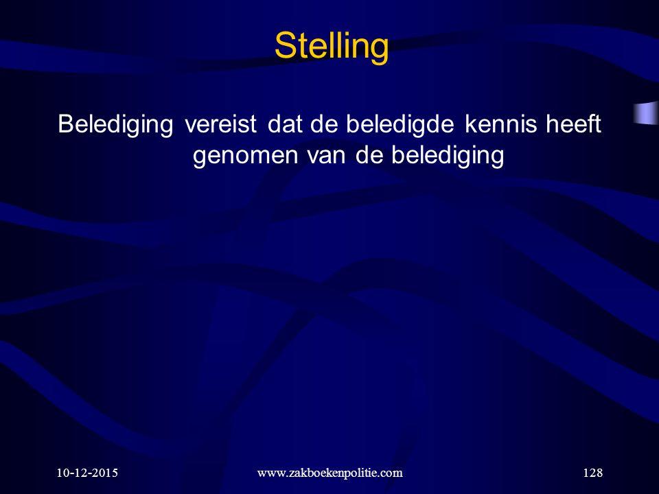 10-12-2015www.zakboekenpolitie.com128 Stelling Belediging vereist dat de beledigde kennis heeft genomen van de belediging