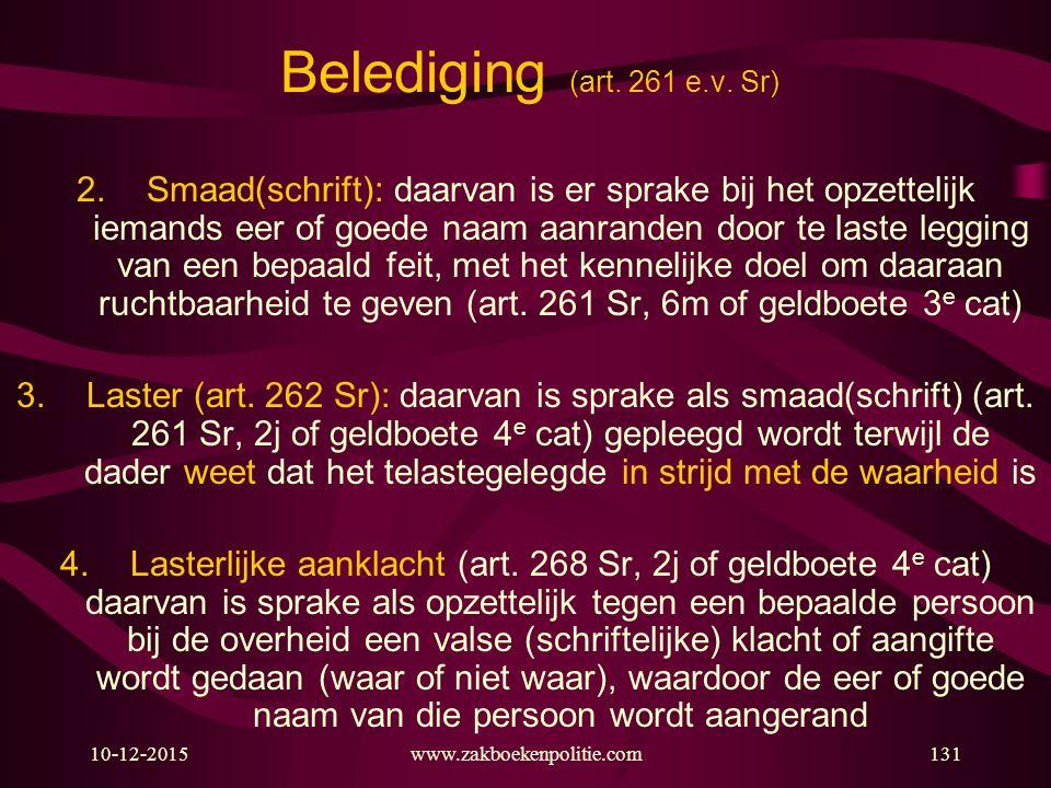 10-12-2015www.zakboekenpolitie.com131 Belediging (art. 261 e.v. Sr) 2.Smaad(schrift): daarvan is er sprake bij het opzettelijk iemands eer of goede na