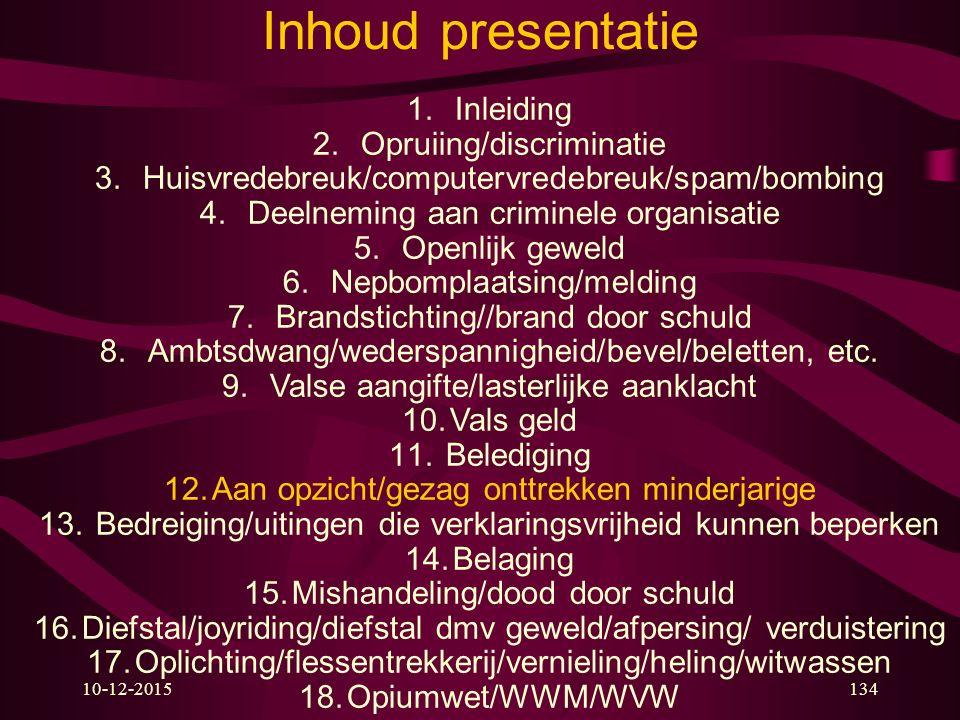 10-12-2015134 Inhoud presentatie 1.Inleiding 2.Opruiing/discriminatie 3.Huisvredebreuk/computervredebreuk/spam/bombing 4.Deelneming aan criminele orga