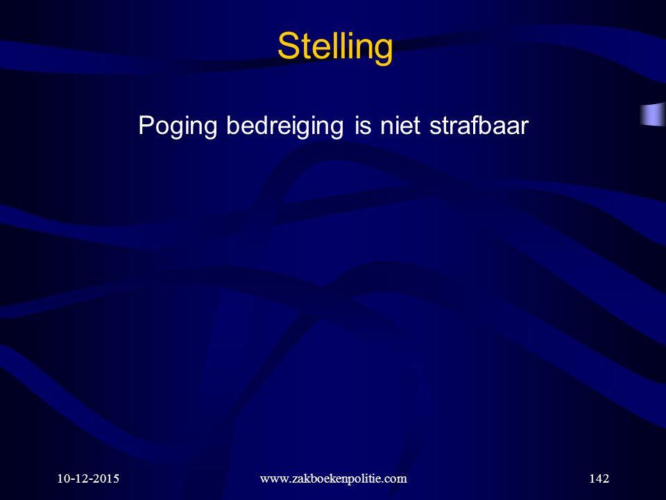 10-12-2015www.zakboekenpolitie.com142 Stelling Poging bedreiging is niet strafbaar