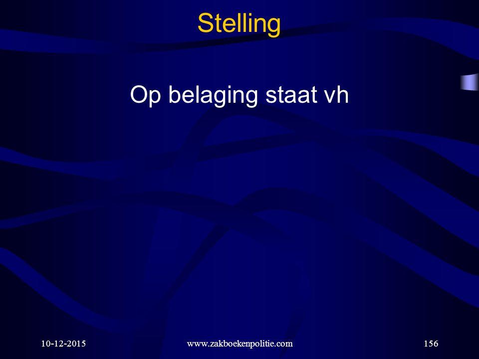 10-12-2015www.zakboekenpolitie.com156 Stelling Op belaging staat vh