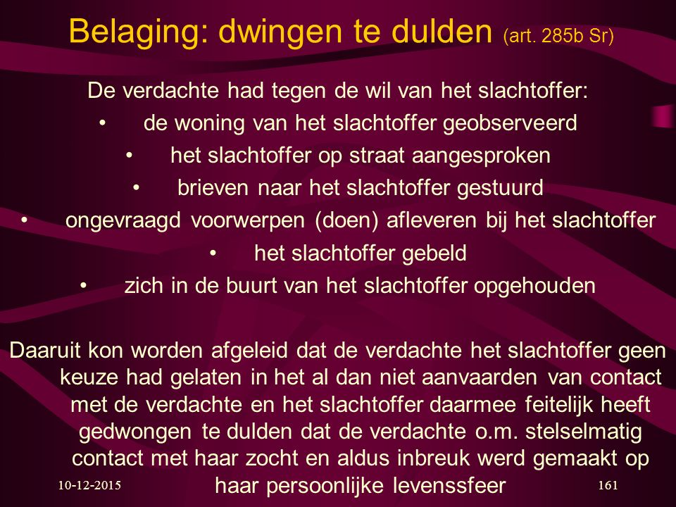 10-12-2015161 Belaging: dwingen te dulden (art.