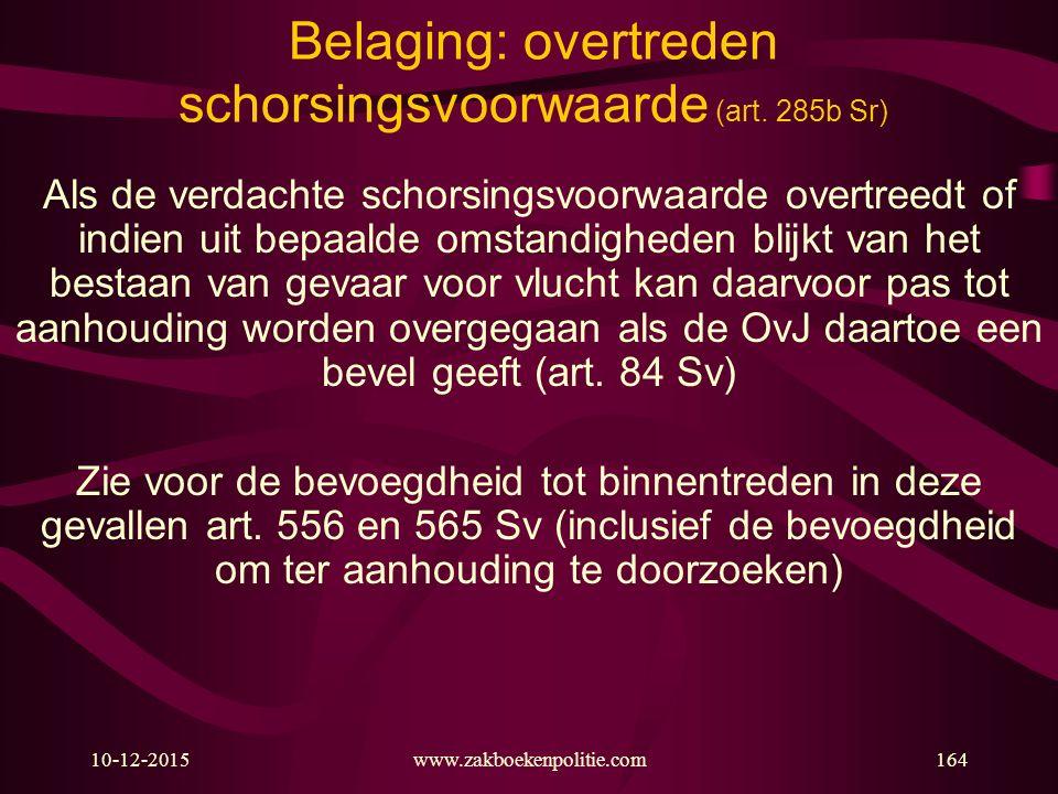 10-12-2015www.zakboekenpolitie.com164 Belaging: overtreden schorsingsvoorwaarde (art. 285b Sr) Als de verdachte schorsingsvoorwaarde overtreedt of ind