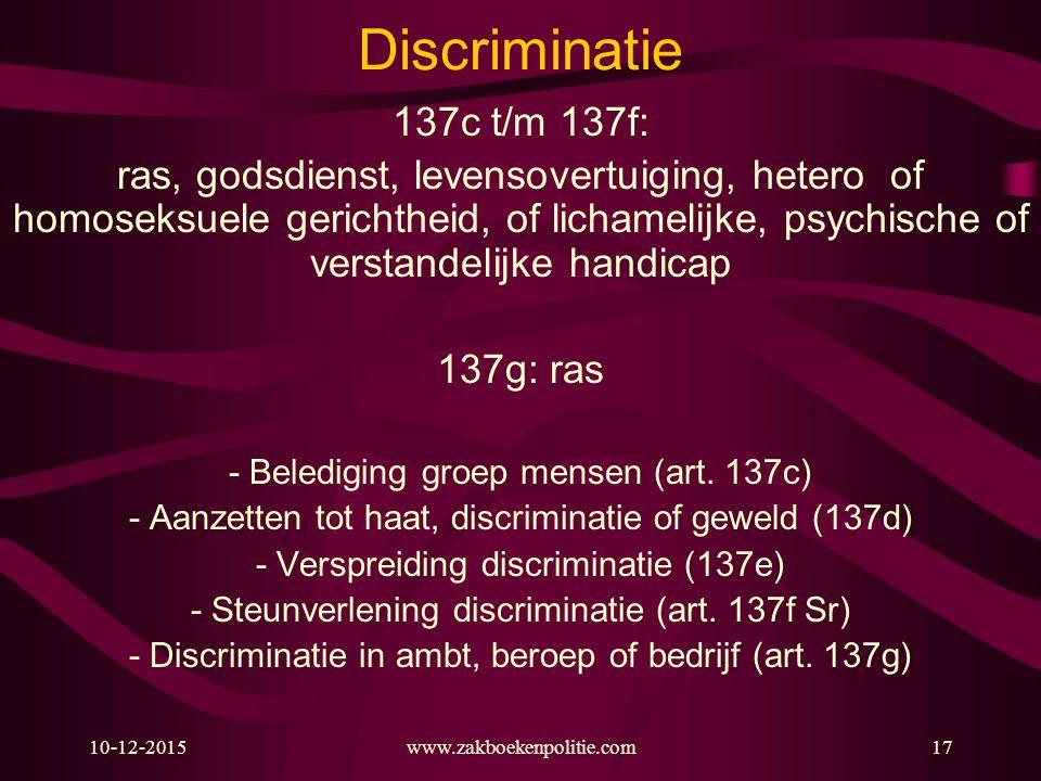 10-12-2015www.zakboekenpolitie.com17 Discriminatie 137c t/m 137f: ras, godsdienst, levensovertuiging, hetero of homoseksuele gerichtheid, of lichameli
