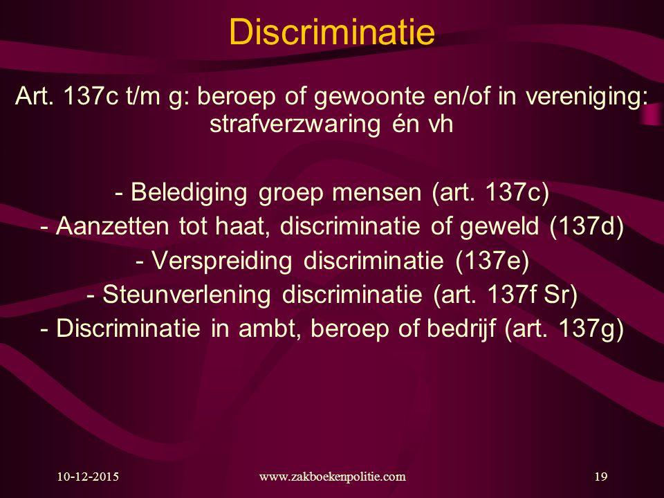 10-12-2015www.zakboekenpolitie.com19 Discriminatie Art. 137c t/m g: beroep of gewoonte en/of in vereniging: strafverzwaring én vh - Belediging groep m