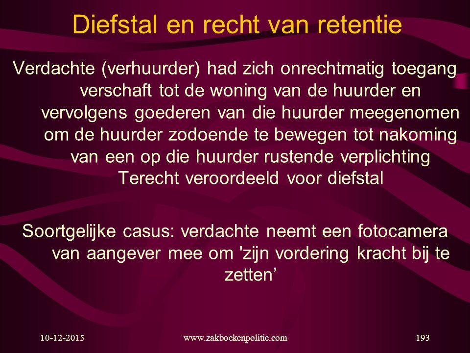 10-12-2015www.zakboekenpolitie.com193 Diefstal en recht van retentie Verdachte (verhuurder) had zich onrechtmatig toegang verschaft tot de woning van
