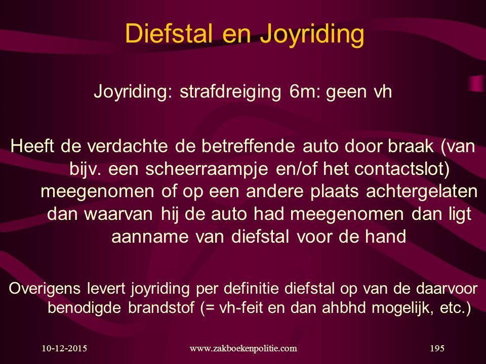 10-12-2015www.zakboekenpolitie.com195 Diefstal en Joyriding Joyriding: strafdreiging 6m: geen vh Heeft de verdachte de betreffende auto door braak (va