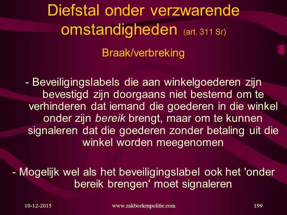 10-12-2015www.zakboekenpolitie.com199 Diefstal onder verzwarende omstandigheden (art. 311 Sr) Braak/verbreking - Beveiligingslabels die aan winkelgoed