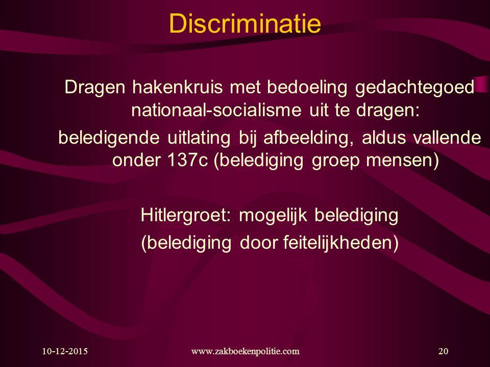 10-12-2015www.zakboekenpolitie.com20 Discriminatie Dragen hakenkruis met bedoeling gedachtegoed nationaal-socialisme uit te dragen: beledigende uitlat