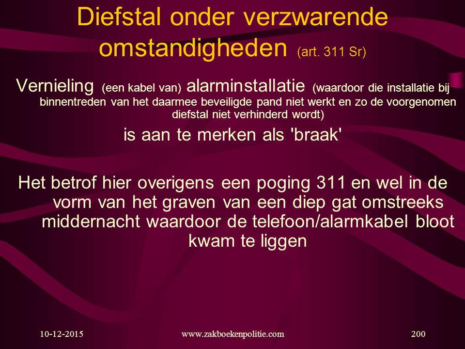 10-12-2015www.zakboekenpolitie.com200 Diefstal onder verzwarende omstandigheden (art. 311 Sr) Vernieling (een kabel van) alarminstallatie (waardoor di