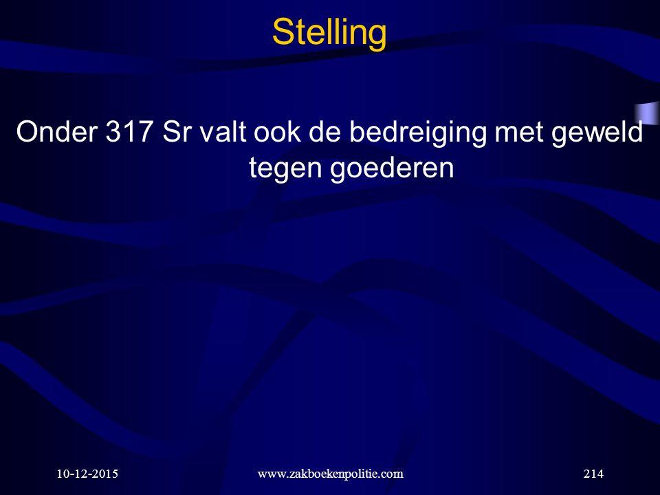 10-12-2015www.zakboekenpolitie.com214 Stelling Onder 317 Sr valt ook de bedreiging met geweld tegen goederen