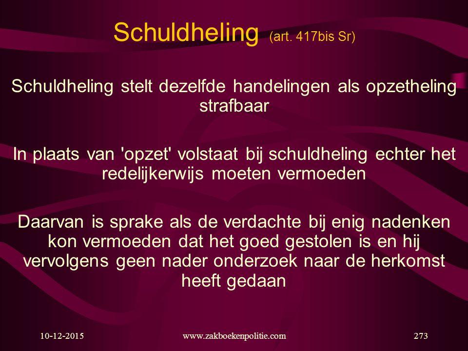 10-12-2015www.zakboekenpolitie.com273 Schuldheling (art. 417bis Sr) Schuldheling stelt dezelfde handelingen als opzetheling strafbaar In plaats van 'o