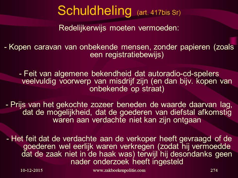 10-12-2015www.zakboekenpolitie.com274 Schuldheling (art. 417bis Sr) Redelijkerwijs moeten vermoeden: - Kopen caravan van onbekende mensen, zonder papi