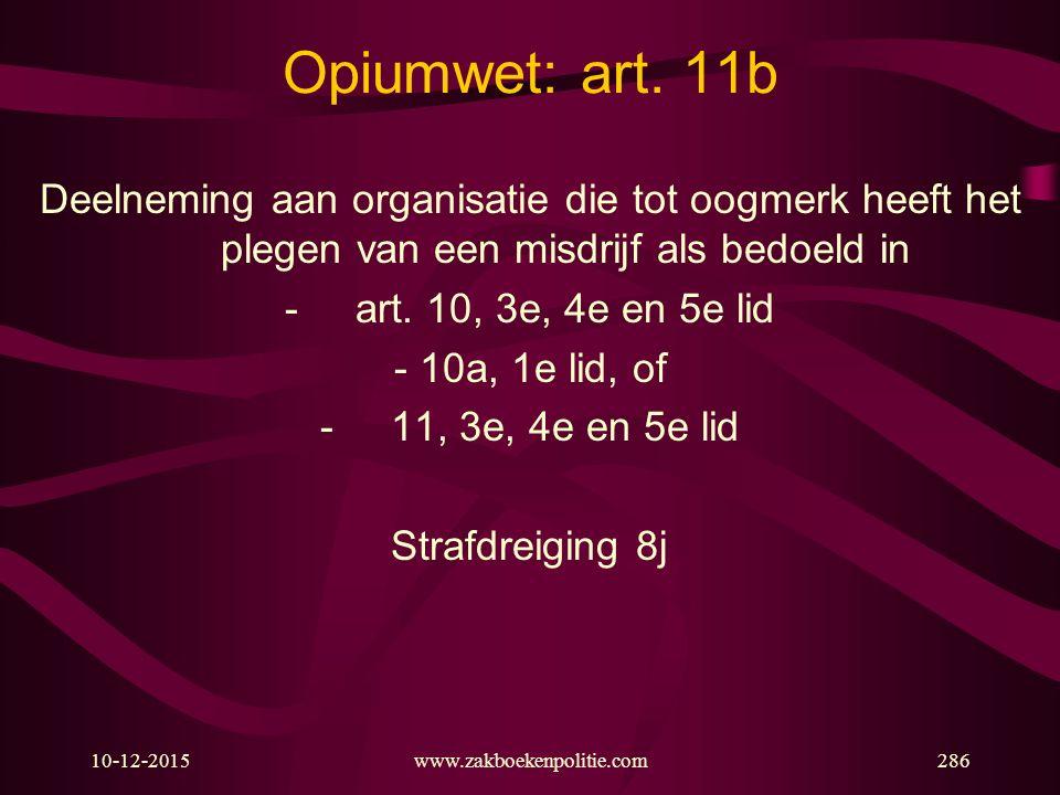 10-12-2015www.zakboekenpolitie.com286 Opiumwet: art. 11b Deelneming aan organisatie die tot oogmerk heeft het plegen van een misdrijf als bedoeld in -
